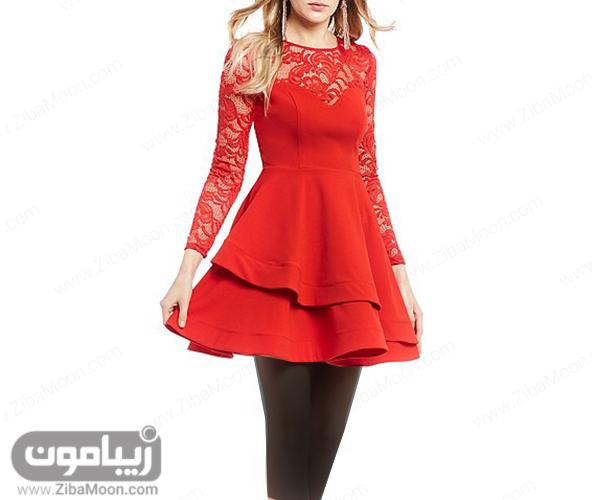 لباس مجلسی کوتاه دخترانه و شیک با پارچه قرمز و آستین بلند گیپوری