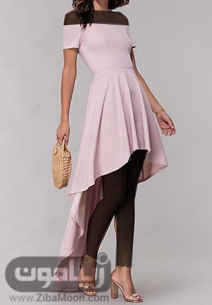 مدل لباس مجلسی دخترانه صورتی با یقه دلبری و دامن دنباله دار