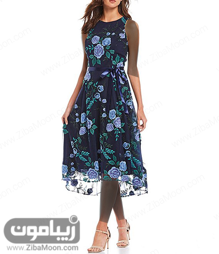 مدل لباس مجلسی کوتاه با پارچه حریری و گلدار