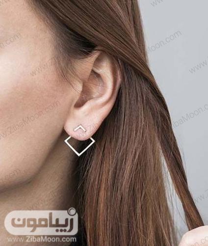 مدل گوشواره لوزی شکل ساده و مینیمال