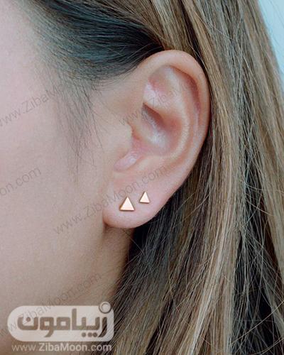 مدل گوشواره میخی مثلثی ساده و شیک