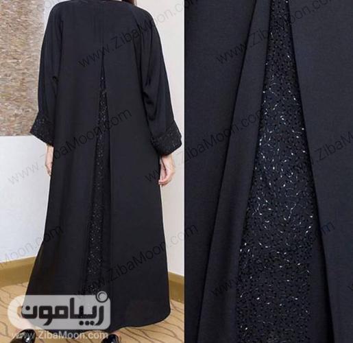 مدل عبا مشکی زنانه با پارچه لمه دار