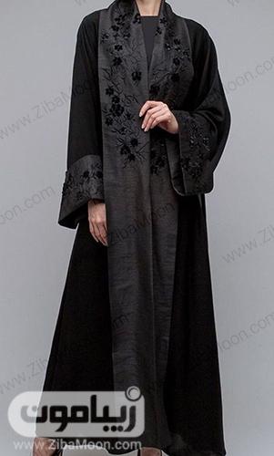 مدل مانتو عبایی زنانه مشکی با گلدوزی ظریف