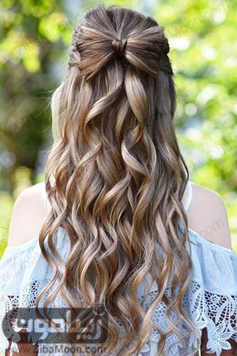مدل مو پاپیونی بر روی موها بلند و فرفری