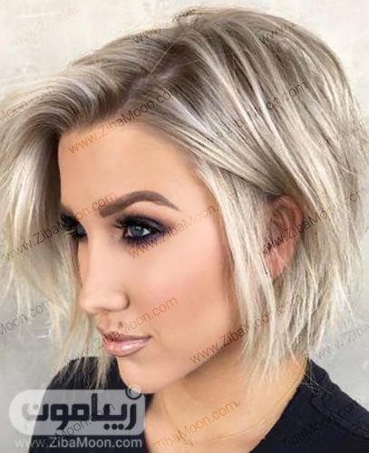 مدل مو کوتاه و شیک دخترانه با هایلایت های بلوند
