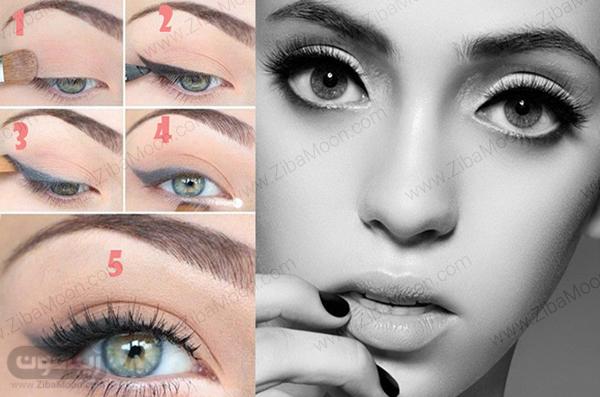 , آموزش کامل و حرفه ای خط چشم برای چشم های درشت + عکس