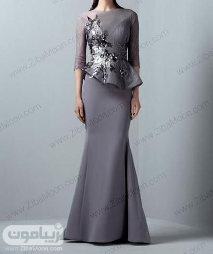 لباس مجلسی بلند زنونه به رنگ توسی با آستین بلند حریری و بالاتنه کار شده