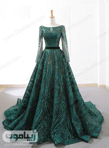 لباس مجلسی سبز رنگ آستین دار شکیل مناسب مراسم حنابندون