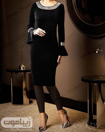 لباس مجلسی شیک و پوشیده زنانه با پارچه لمه مشکی