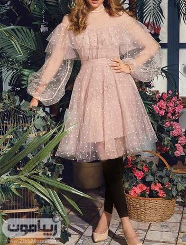 لباس مجلسی عروسکی دخترونه با پارچه صورتی حریری خال خالی