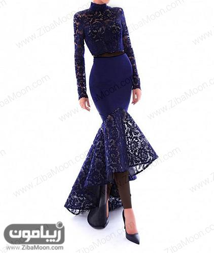 لباس مجلسی دو تکه گیپوری با دامن مدل دم ماهی