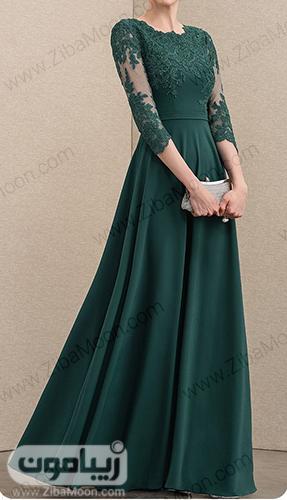 لباس نامزدی بلند و شیک به رنگ سبز و آستین بلند گیپوری حریری
