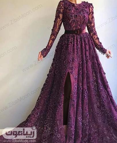 لباس نامزدی بتفش زیبا و خاص با پارچه گیپوری و آستین بلند