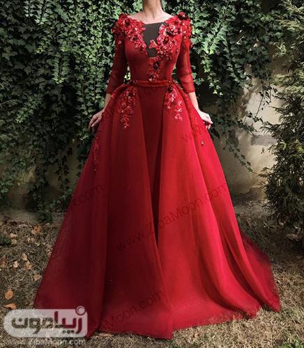 لباس نامزدی یا حنابندون زیبا به رنگ زرشکی با دامن پف دار و بالاتنه کارشدع
