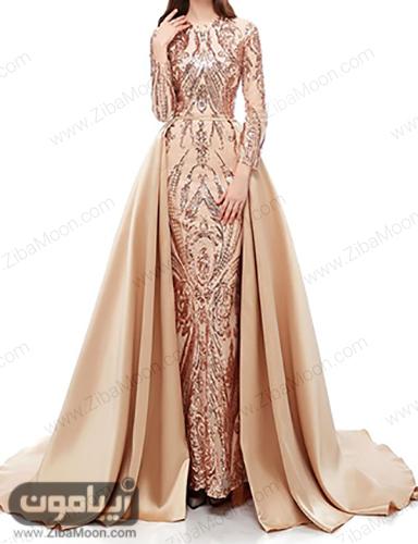 مدل لباس مجلسی طلایی شیک و جدید با آستین بلند مخصوص حنابندون