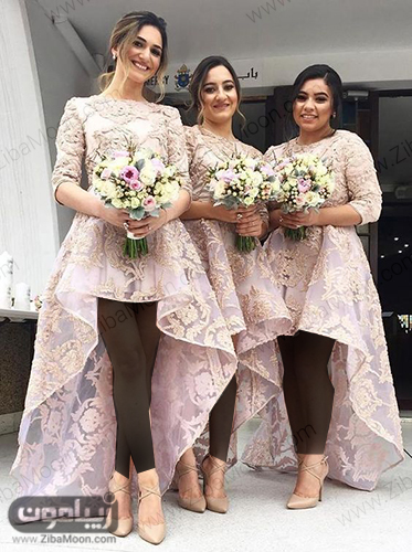 ساقدوش عروس با لباس گیپوری شیک