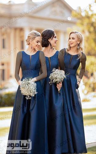 لباس ساقدوش عروس به رنگ سورمه ای