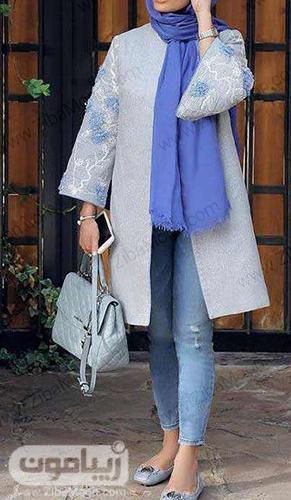 مدل مانتو کتی دخترونه جلو باز با آستین گلدار شیک و جذاب برای عید 99