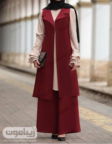 مدل سارافون شلوار شیک و ساده زرشکی برای عید 99