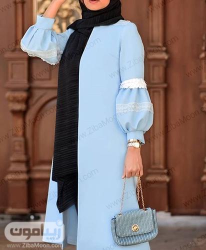 مدل مانتو جدید آبی روشن با آستین پف دار برای عید 1399