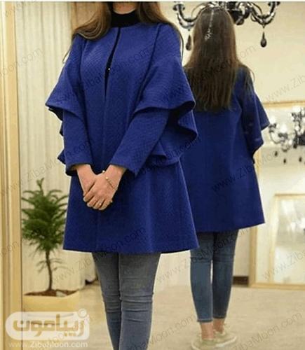 مدل مانتو زیبا با آستین های جذاب به رنگ آبی تیره برای عید 99