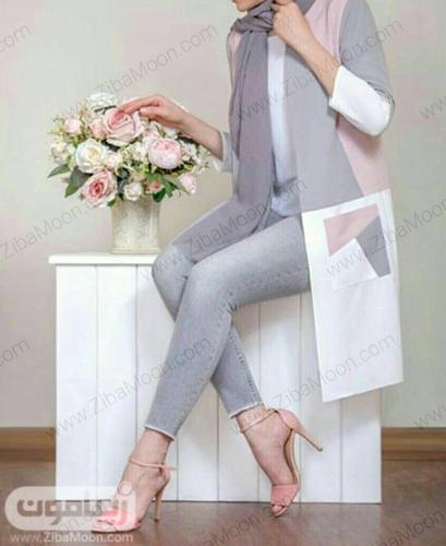 مدل مانتو کتی دخترنه شیک و ساده به رنگ سفید توسی و صورتی روشن برای عید امسال
