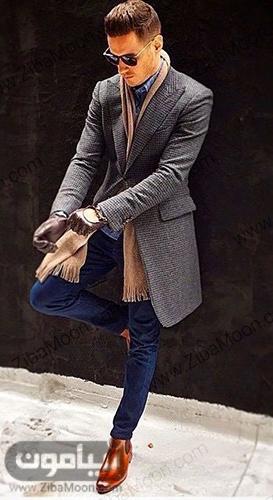 استال زمستانه شیک و جذاب مردانه با پالتو خاکستری