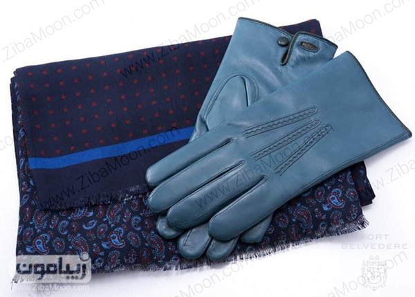 دستکش چرم و دستمال گردن مردانه