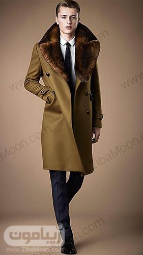 مدل پالتو مردانه خزدار برنزی رنگ