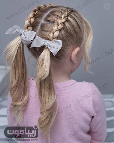 بافت مو دوتایی از جلو سر و مدل مو خرگوشی برای بچه ها