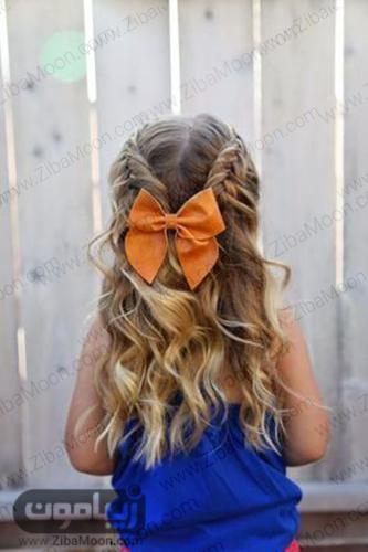 مدل مو باز و موج دار و بافت مو دو طرفه برای دختر بچه