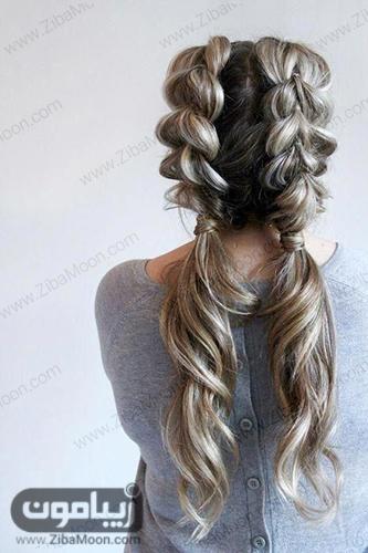 بافت مو هلندی دوتایی در پشت سر برای موهای بلند