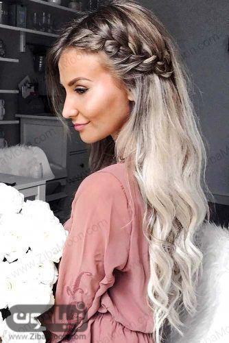 بافت مو کنار سر ساده برای موهای بلند و مجعد