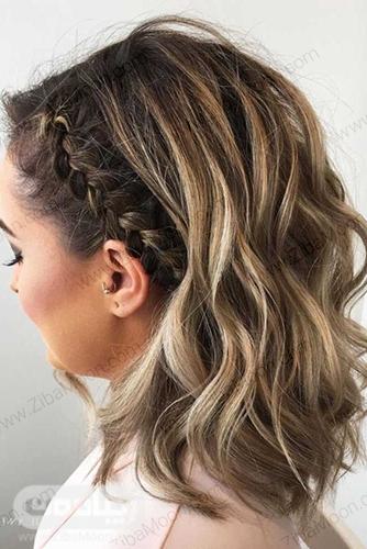 مدل بافت مو کنار سر بر روی موهای کوتاه