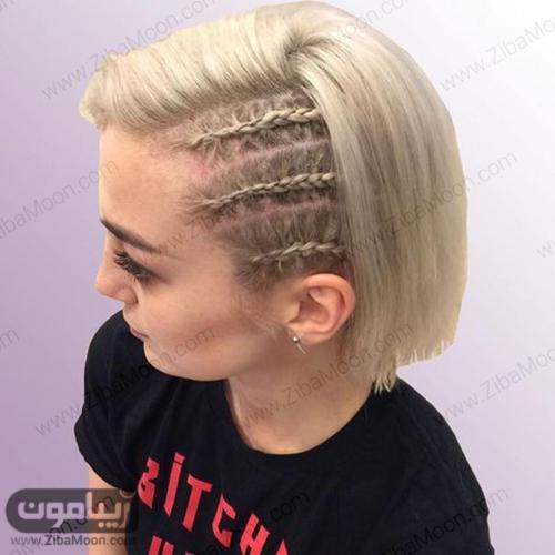 بافت مو کنار سر سه تایی برای موهای کوتاه