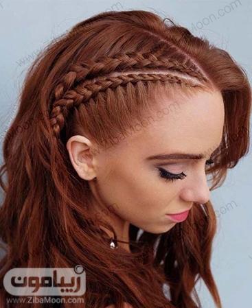 مدل بافت مو کنار رو موهای بلند و موج دار