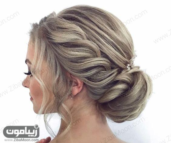 مدل شینیون مو شیک و خاص با بافت مو در کنار موها