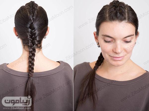 بافت مو دخترانه از مرکز سر