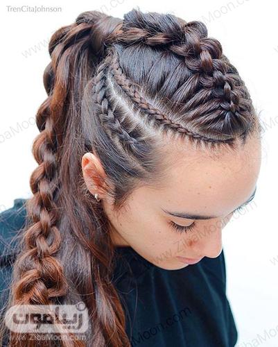 مدل بافت مو از ریشه در کنار سر و بافت مو خاص در جلوی موها به همراه موهای دم اسبی