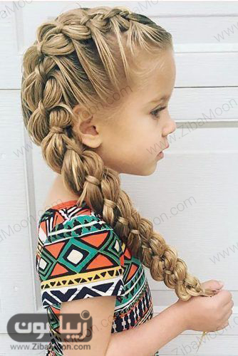 موهای دختر بچه با بافت مو یکطرفه و زیبا