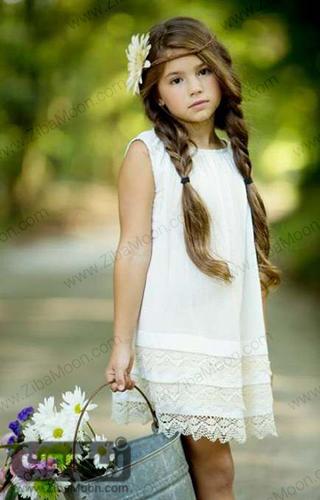 مدل بافت مو ساده و دوتایی برای دختر بچه ها