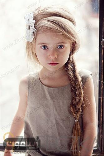 مدل بافت مو ساده و یکطرفه برای دختر بچه