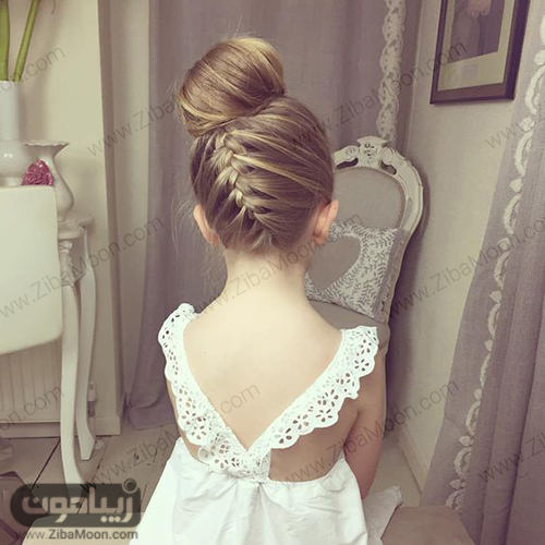 مدل مو گوجه ای و بافت مو در پشت سر برای دختر بچه ها
