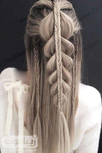 چند مدل بافت مو جذاب روی موهای بلند