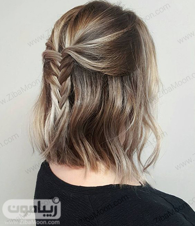 بافت مو ساده و شیک در پشت سر برای موهای کوتاه
