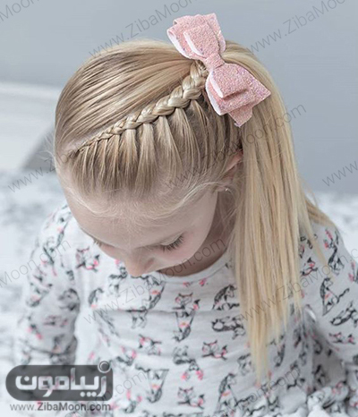 مدل مو دم اسبی یک طرفه به همراه بافت مو زیبا در جلو مو برای دختر بچه