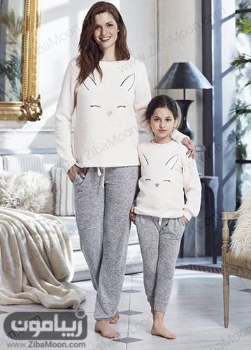 ست لباس خونگی زمستانی برای مادر و دختر