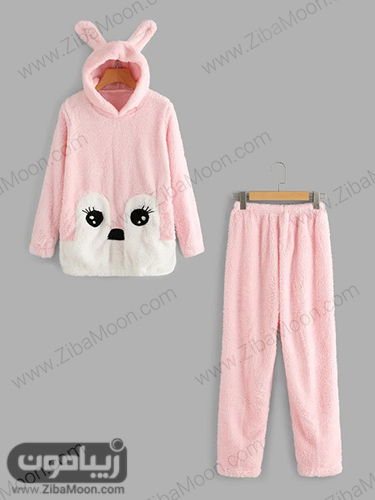 لباس خانگی زمستانی با هودی و شلوار گرم و ضخیم
