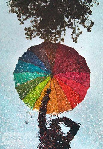 تصویر پروفایل با پتر رنگارنگ در طبیعت بارانی پاییز