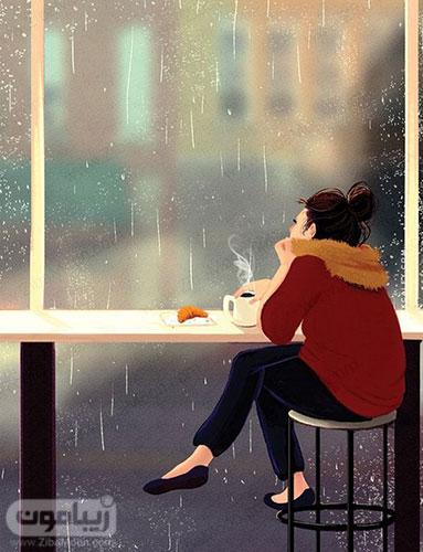 عکس پروفایل دخترانه در پشت پنجره بارانی به شکل کارتونی